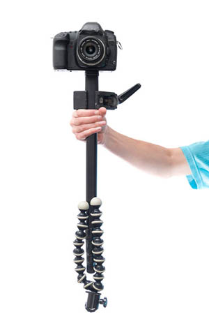 Monopod with counterbalance on bottom and clamp at center of balance to act as a DIY steadicam / glidecam