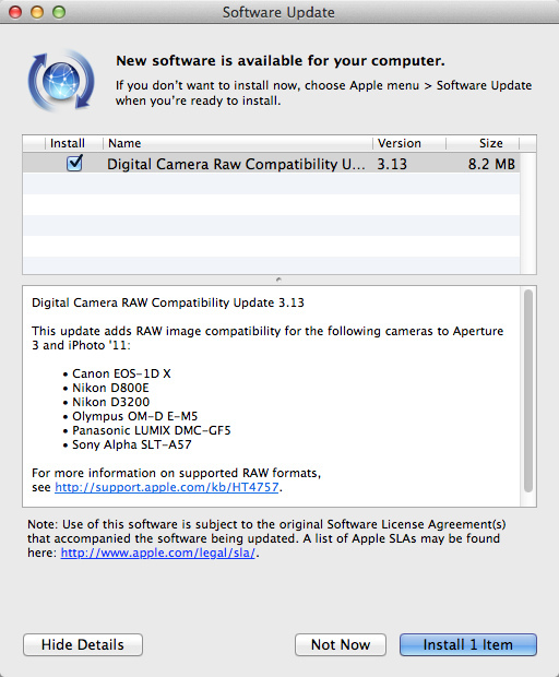 Apple Digital Camera RAW Compatibility Update