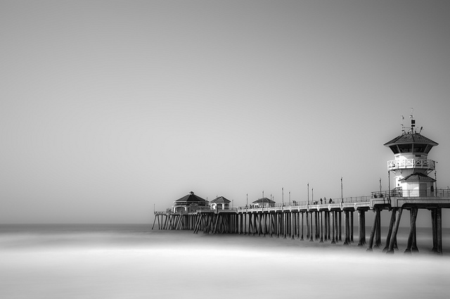 Huntington Beach Pier in B&W long exposure - captured as RAW+JPEG versions