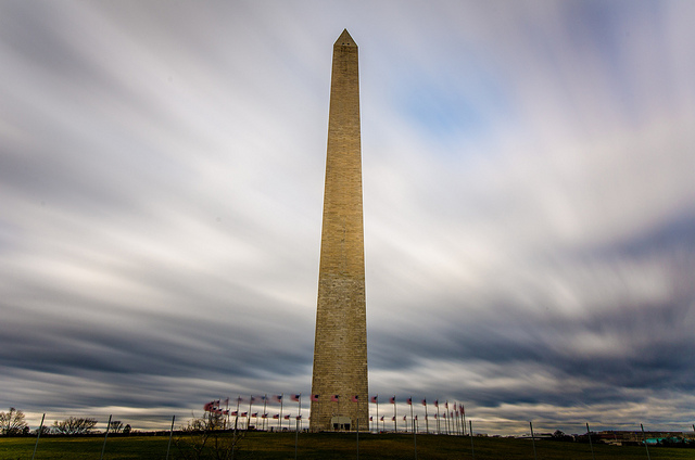 Washington Monument - Daytime Long Exposure with blurred clouds moving across the sky