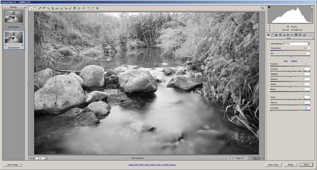 Image taken with a 10 stop ND filter and shutter speed reduced 10 stops from the base exposure. The resulting exposure is darker than the base exposure. To get the exposure to match the base exposure +0.66 of exposure compensation has had to be applied in the RAW converter. This indicates the ND filter has an actual strength of 10 2/3 stops.