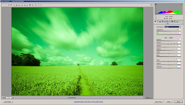 Long exposure image taken using a welding glass filter. Before any RAW corrections, the image has a very strong green color cast.