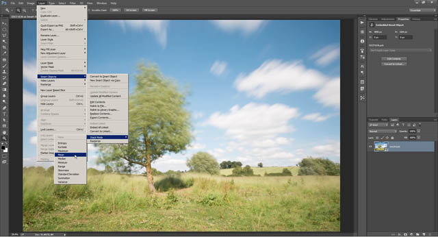 Image layers stacked into a single smart object layer
