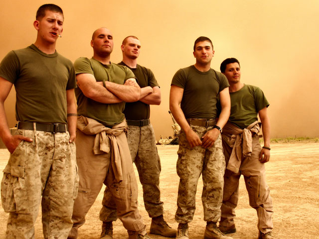 Group Shot of soldiers in the Iraqi desert during a dust storm