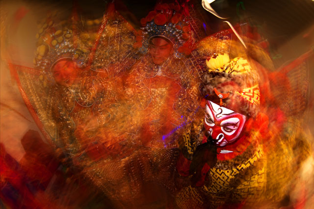 Monkey King, combining a slow shutter speed and flash for a combination of blurred movement and frozen sharpness