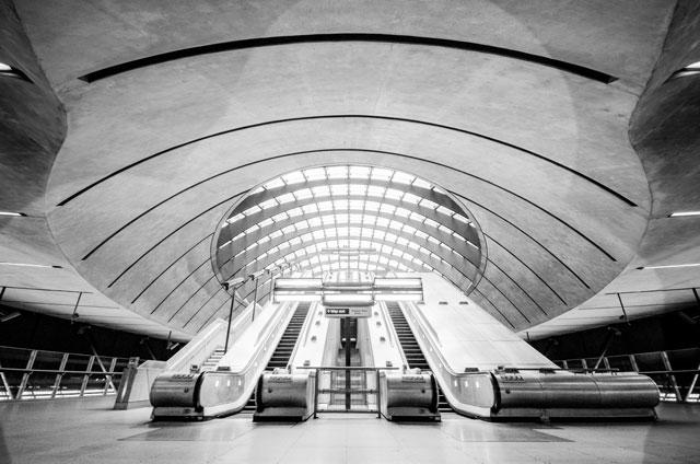 London tube station escalators HDR black and white processed photo