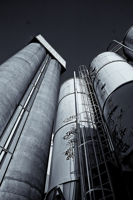 Silos photographed in black and white