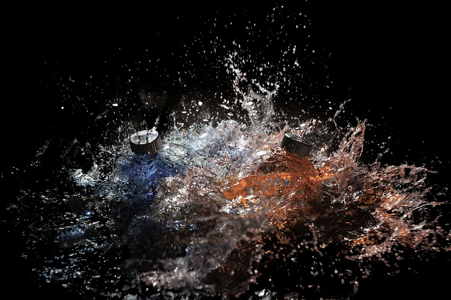 Exploding water filled baubles - flash triggered by sound used to capture the image