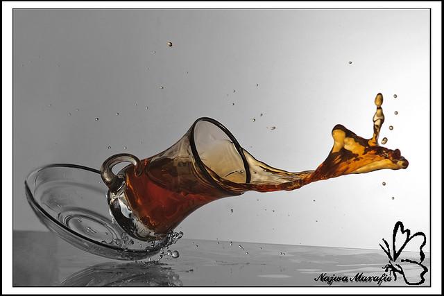 Tea splash, 1 second exposure - movement frozen by fast flash duration