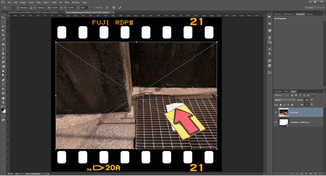Image positioned over empty area of film frame