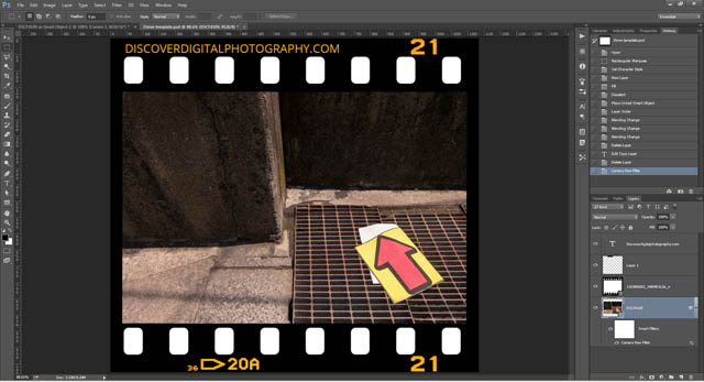 35mm film border added to image with text on border adjusted