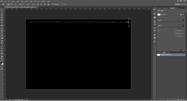 Dragging path handles to create corner point of film frame