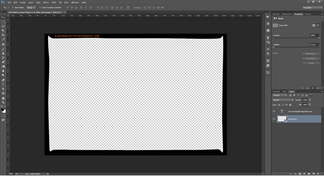 Film frame border with transparent background ready to save as a template