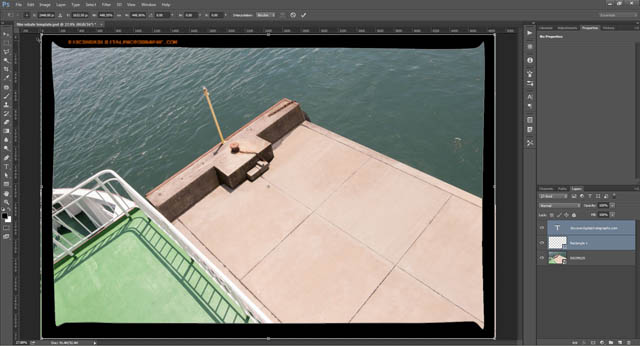 Resizing the film border using free transform with constrained proportions