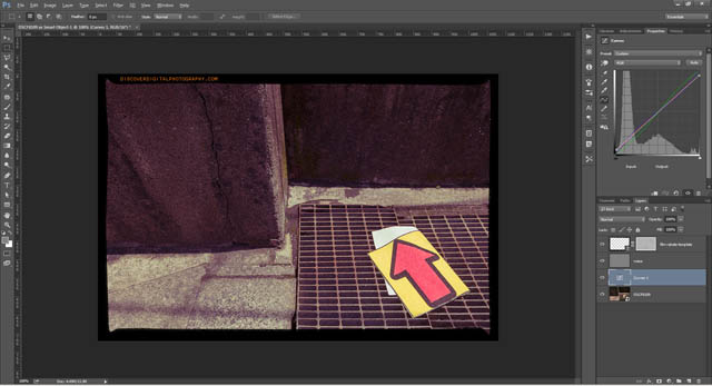 Noise added to image layer, colors and tone adjusted