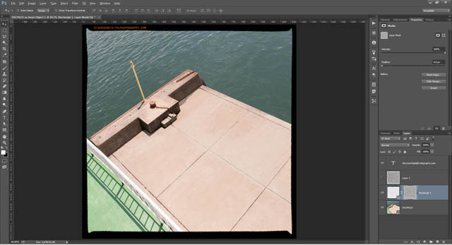 Noise layer mask applied to film rebate border layer
