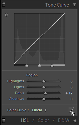 Location of RGB curves adjustment in Lightroom