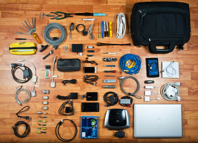 Knolling photo of Work Bag contents