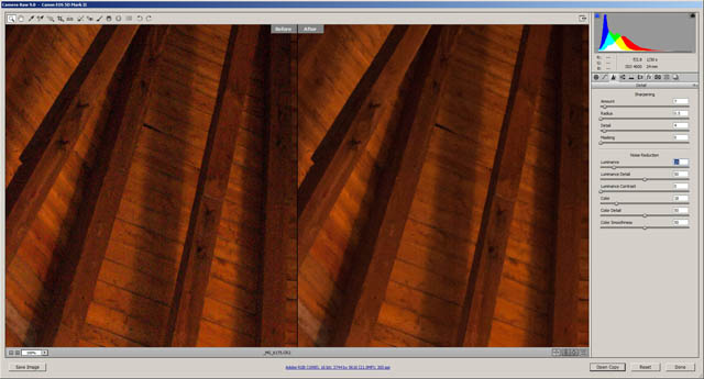 Comparison of RAW image before and after noise reduction