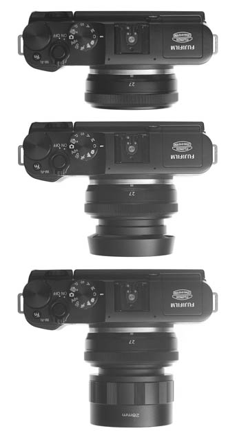 Three photos of a camera with a small pancake prime lens. The top image the lens has no hood. The middle image the lens is fitted with a small lens hood, effectively doubling the lens' size. The bottom image the lens is fitted with a hood suitable for the lens' focal length, which approximately triples the effective size of the lens.