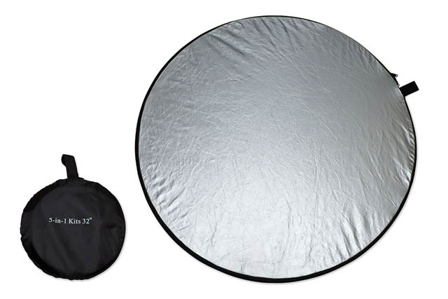 Comparison between size of reflector panel when expanded and the bag it fits in when folded down