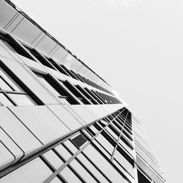 Abstract black and white photo of a tower block
