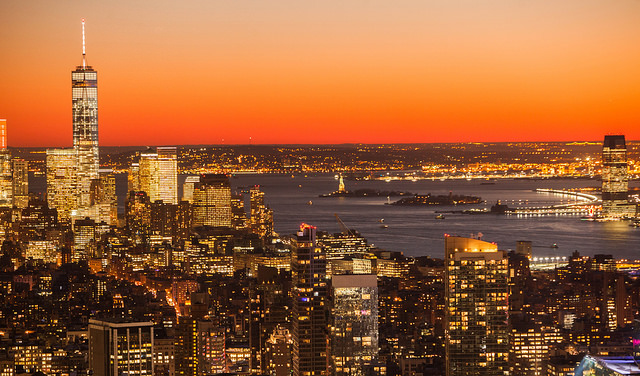 New York City Skyline Winter Sunset
