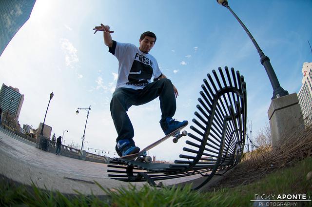 Brandon Kelsey - Nosegrind, photo taken using a fisheye lens
