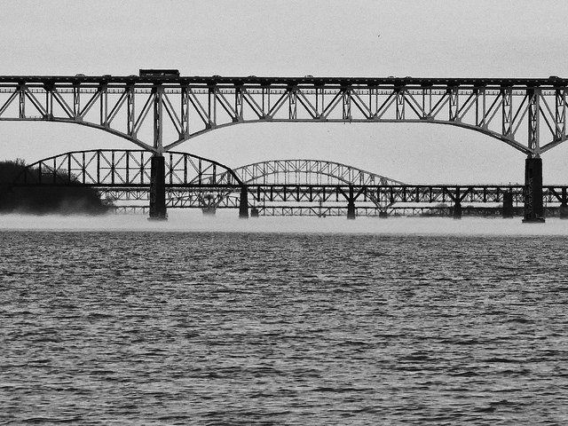 Susquehanna River Bridges At Port Deposit, the bridges appear close together in the photo due to telephoto compression