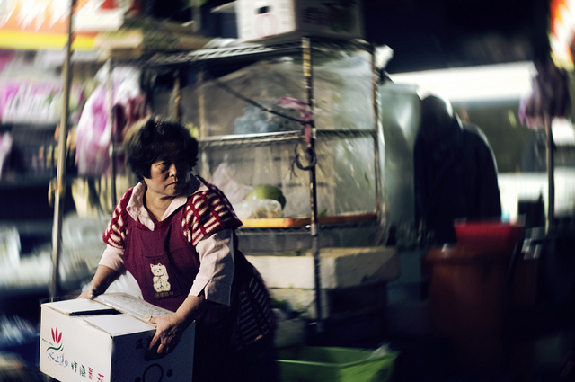 Taiwan night market, taken using an aperture of f/1.7 and ISO of 1600 - an equivalent phone photo would be very noisy