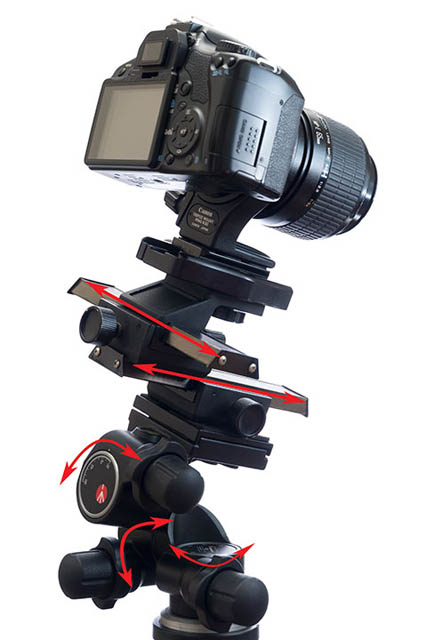 Camera mounted on focusing rail and geared head