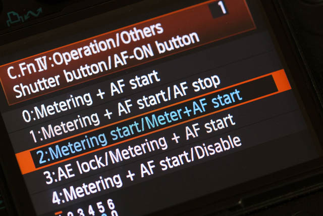 Setting shutter button to metering and back button to autofocus on Canon 5D Mk II camera