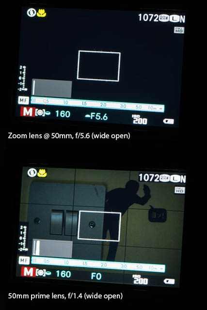 Comparison between the view on a camera's screen in dark light when used with a slow lens (f/5.6) and a fast lens (f/1.4)