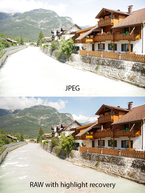 Out of camera JPEG vs RAW with highlight recovery
