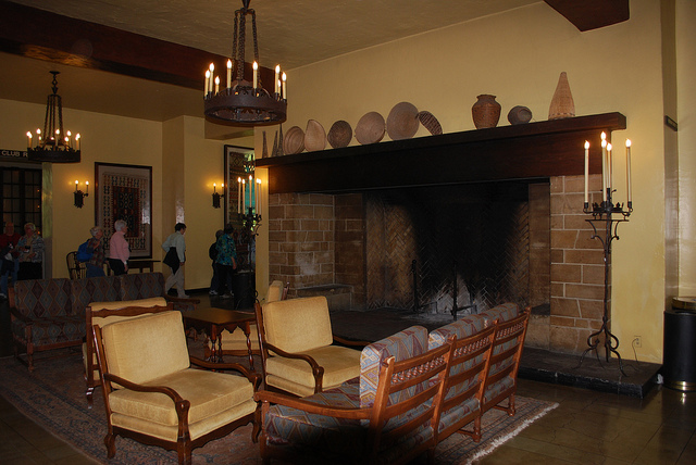 Ahwanee Fireplace - a dark semi-circle is visible at the bottom of the image caused by using the camera's pop-up flash to light the scene while the lens still had a hood attached