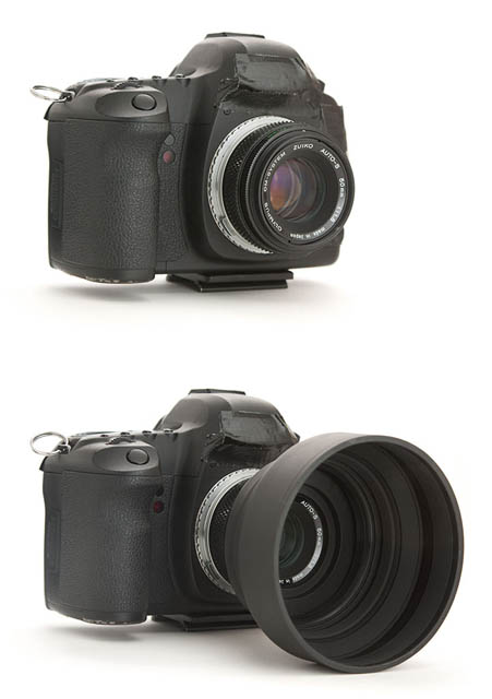 Photo of camera with a small lens (top) and with a lens hood added (bottom)
