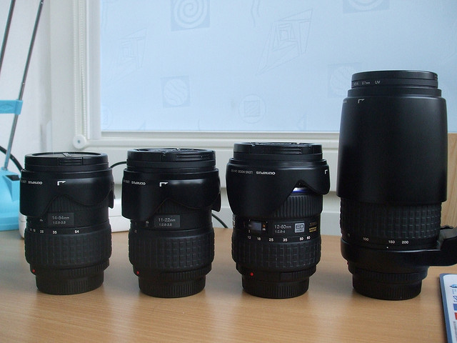 Lenses with hoods reversed for storage
