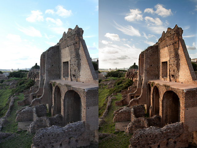 Before & After post processing image of ruins