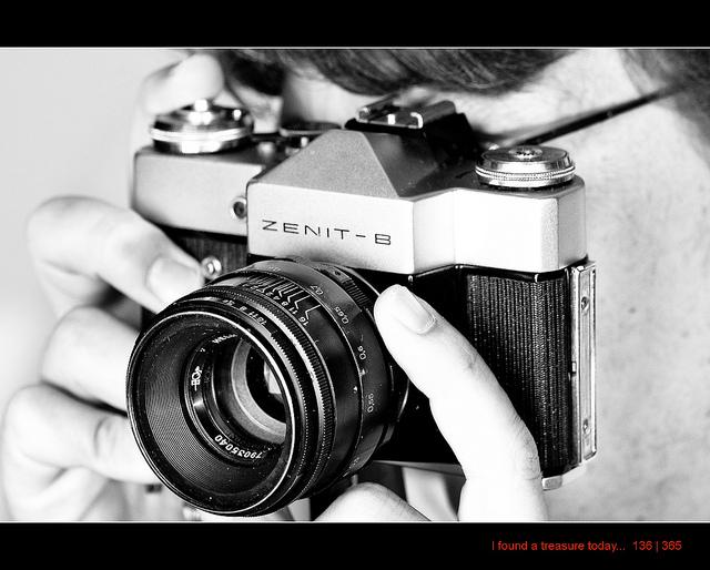 Fully manual film camera in use