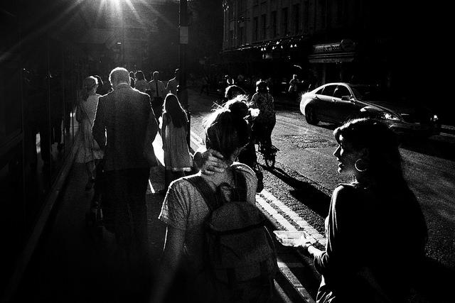 Grainy street photo shot on Tri-X film
