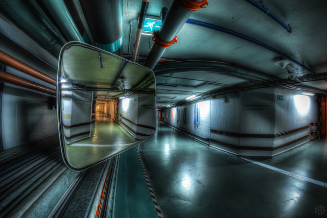 HDR image of a mirror in an underpass. Taken handheld using a manual focus fisheye lens.