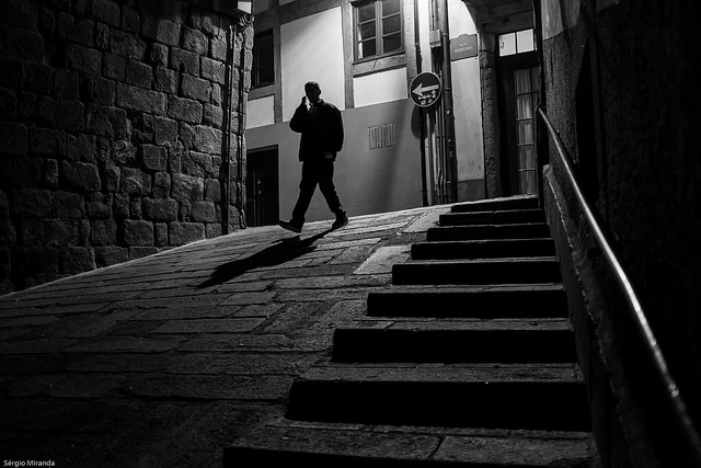 Black and white street photo shot at iso 6400 on a digital camera with relatively