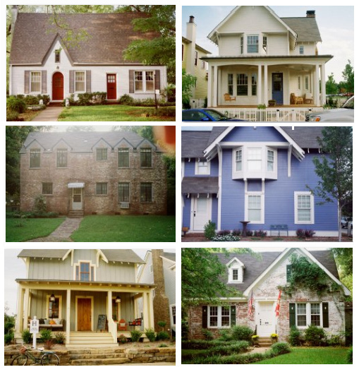 Set of 6 photos of homes, all taken in a similar way to give a consistent and coherent set of images.