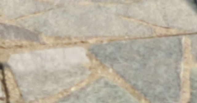 Cloned top half of paving stone on left is too bright
