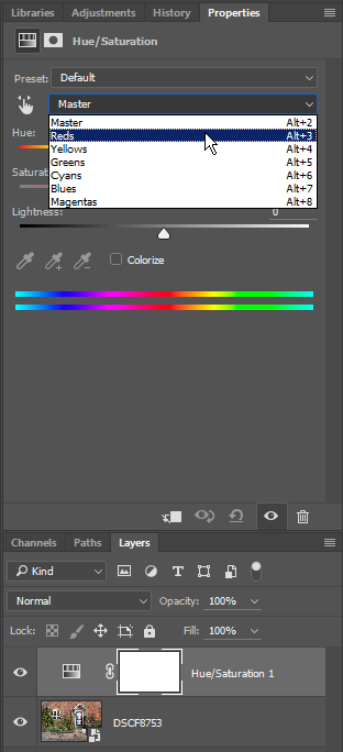 Selecting range of colors to adjust in Photoshop