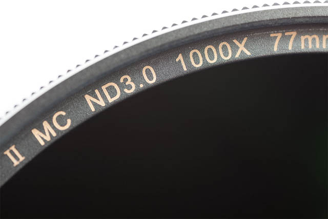 ND filter marked with optical density and filter / multiplication factor to indicate filter strength