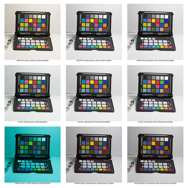 10 Stop ND Filter Color Cast Comparison. Top row is B+W filter, Middle row is no filter, Bottom row is Hitech Pro-Stop. Left column is without adjustments, Middle column is white balanced with Adobe standard profile, Right column is white balanced with ColorChecker profile.