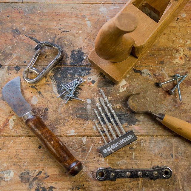 Work tools flat lay
