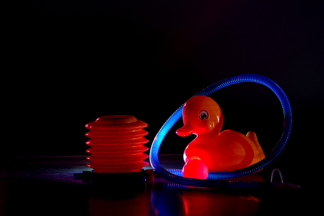 Light painted photo of a rubber duck