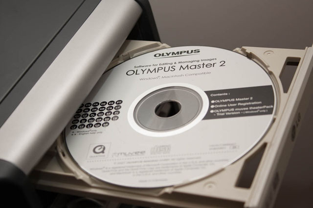 Example of a software CD bundled with a camera